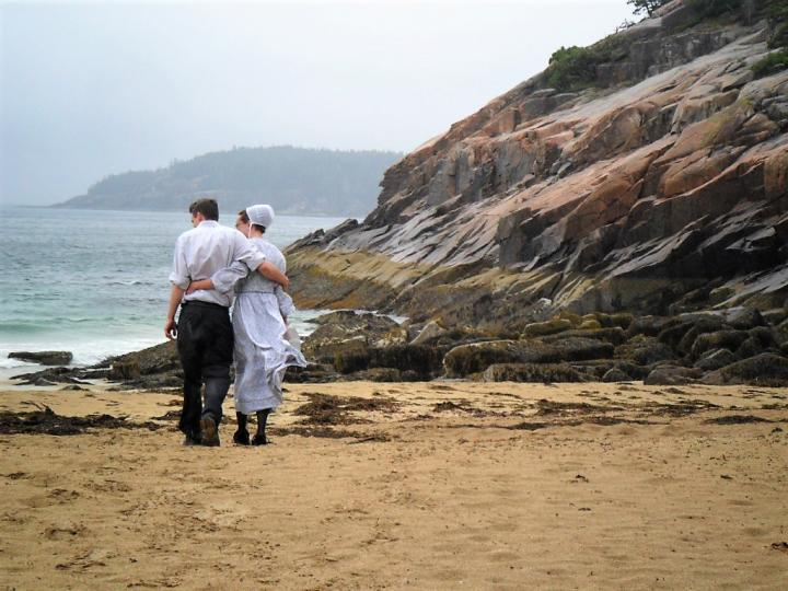 Amish in Sand Beach, Acadia National Park, Maine
