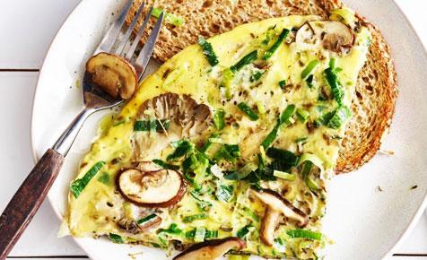 Omleta cu praz si ciuperci
